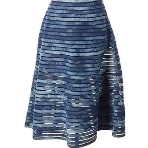 CYNTHIA ROWLEY Illusion panel denim midi skirt 6